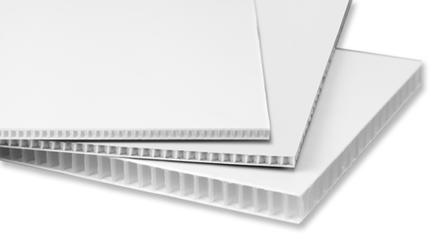unprinted white corrugated plastic sheets with angular corners