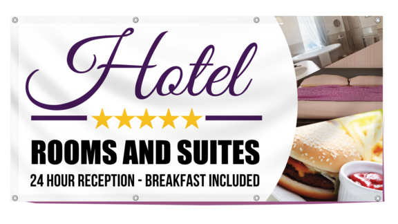 Custom lodging banners printastic with high quality full color printing and free customization printastic makes it easy to create lodging banners that really work reheart Images