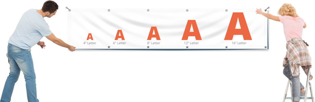 Banner letter sizes for highly legible vinyl banner with maximum