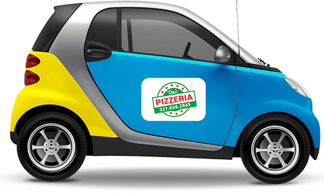 Small car with magnetic sign on the door with pizza delivery graphic