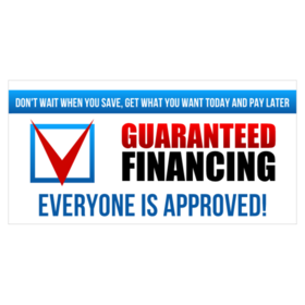 guaranteed financing vinyl banner with v in box graphic and everyone is approved text