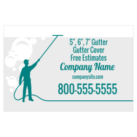 Custom magnetic signs for gutter contractors printastic gutter magnetic sign with worker silhouette and bubbles background reheart Image collections