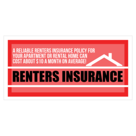 Renters Insurance Vinyl Banner With Roof Graphic With Rate Offer