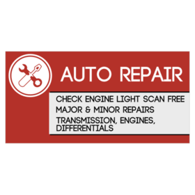 auto repair vinyl banner with tools logo